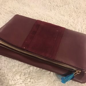 Maroon vegan clutch bag